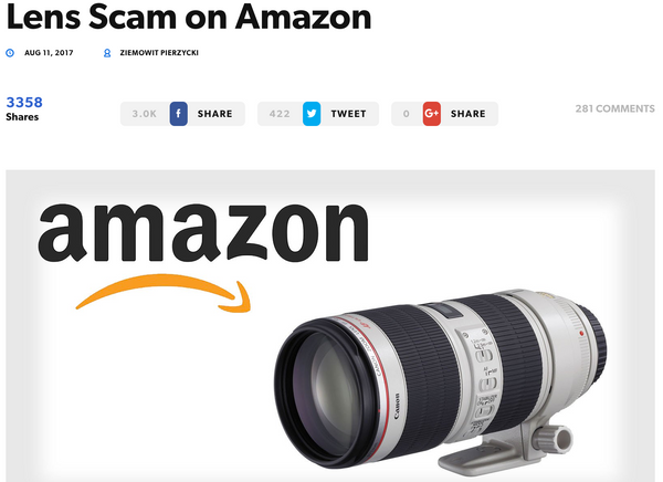 Camera Lens Scam on Amazon
