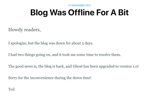 Blog Was Offline For A Bit