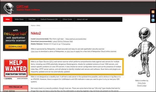 Nikto - The Web App Scanning Tool - It's Origin